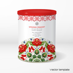 Vector object. Round tin packaging. Tea, coffee, dry products. Floral round pattern. Flower in style of Petrykivka painting. Place for your text.