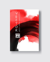 Red and black abstract background with ink splats