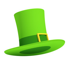 St Patrick's Day Hat on Isolated White Background. 3D Illsutration
