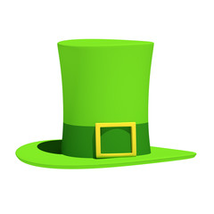 St Patrick's Day Hat on Isolated White Background. 3D Illustration