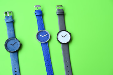 Set of multicolored wristwatches for background