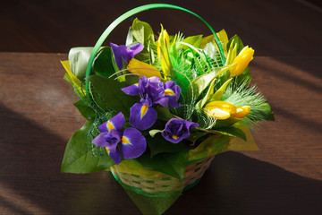 Flowers. Yellow tulip and iris bouquet