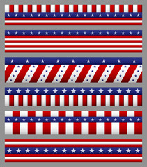 Set of american flag with stars and stripes patterns. USA Independence day festive