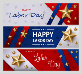 Happy Labor Day holiday banner with golden stars. United States national flag