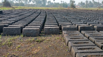gray brick field