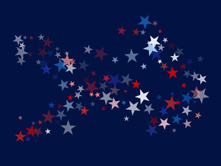 American Patriotic Deign, Vector Blue, Red, White Stars Confetti. Labor, Independence, Memorial Day, 4th of July Election Frame. American Patriotic Design, UK, Australia Freedom Falling Stars Texture.