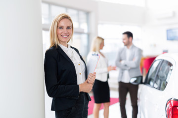 Picture of professional salesperson working in car dealership