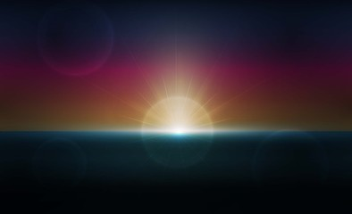 Abstract with sunset twilight in imagination and sky sea. vector illustration