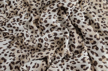 Silk scarf with leopard print