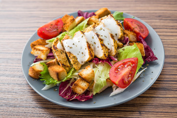 Fresh salad with roast chicken fillet and vegetables