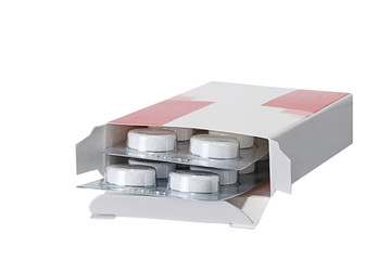 Box with packing of tablets