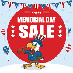 Memorial Day Banner, Cartoon Eagle wearing Uncle Sam Hat, Vector Illustration