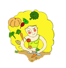 drawing. Happy woman cooks healthy vegetables. spring, diet, nutrition