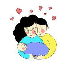 young parents embracing their child, newborn baby. Full of love illustration, drawing