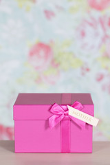 Close up of a pink present for mother