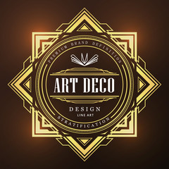 Art deco vintage badge logo retro design vector illustration