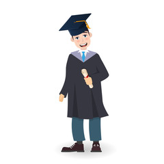 A young graduate man holding certificate or diploma scroll. Cartoon charcter illustration