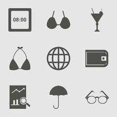 Travel Icon Set with umbrella, rain, brassiere  and digital