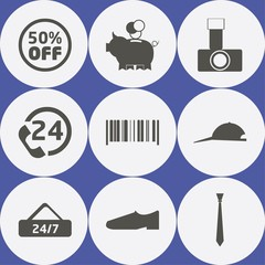 Shopping Icon Set with tie, 24, cap and 50% off