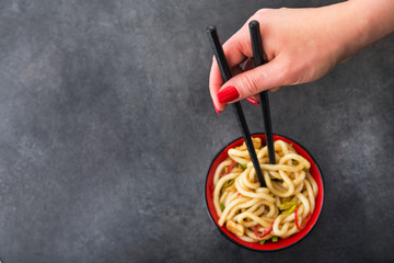 Japanese udon noodles with chopstick