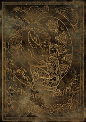 Zodiac sign Cancer on grunge texture background. Hand drawn fantasy graphic illustration in frame