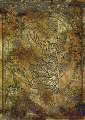 Zodiac sign Cancer on old fabric texture background. Hand drawn fantasy graphic illustration in frame