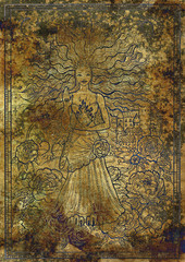 Zodiac sign Leo on old fabric texture background. Hand drawn fantasy graphic illustration in frame