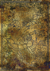 Zodiac sign Scorpion on old fabric texture background. Hand drawn fantasy graphic illustration in frame