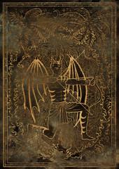 Zodiac sign Archer or Sagittarius on grunge texture background. Hand drawn fantasy graphic illustration in frame