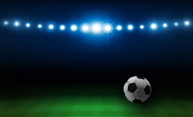 Football arena field with bright stadium lights design. Vector illumination