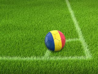 Soccer football with Romanian flag