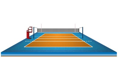 Volleyball net court arena design. Vector illumination
