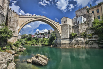 reconstructed Old Bridge of Mostar in Bosnia Herzegovina
