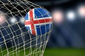 Icelandic soccerball in net