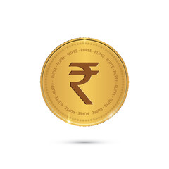 Gold coin with Rupee sign