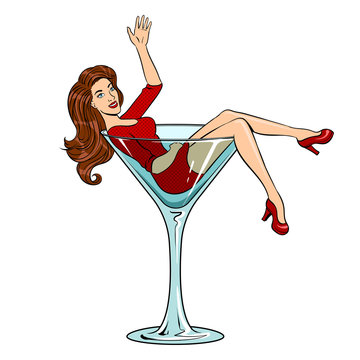 Beauty young woman in glass for alcohol pop art