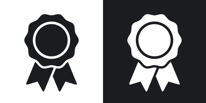 Vector badge with ribbons icon. Two-tone version on black and white background