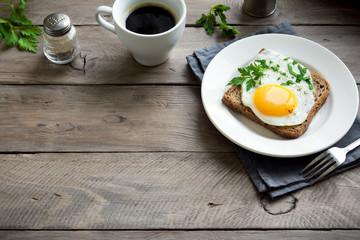 Fried Egg on Toast for Breakfast