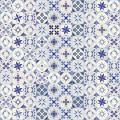 Seamless pattern of hydraulic tiles, typical of Spain, Italy and Portugal. Oriental style.