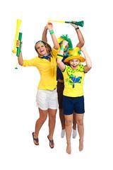 Brazilian family fans jumping