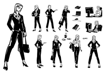 Set of business women in different poses and situations. The girl works at the computer.