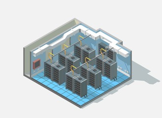 Vector isometric low poly bit coin cryptocurrency mining block chain data center cutaway icon.