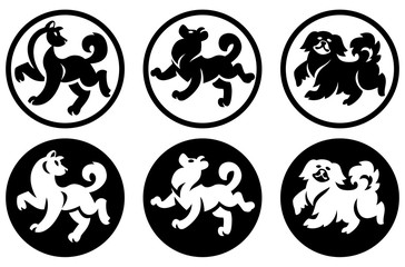 Decorative Chinese dogs in a circle. Black silhouettes on white background.