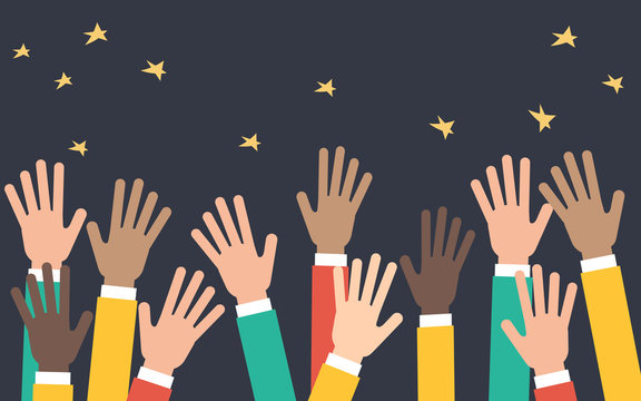 Arms of business people raised up in the air, supportive crowd, flat vector illustration on dark background with stars