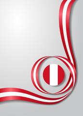 Peruvian flag wavy background. Vector illustration.