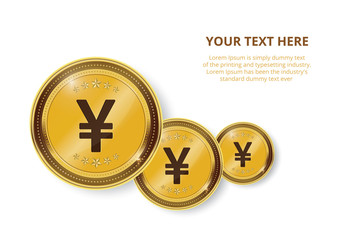 Gold coin with yen Currency sign