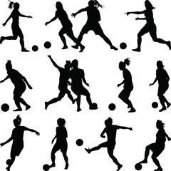 soccer women silhouette. girl player