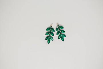 Woman accessories, against white background.