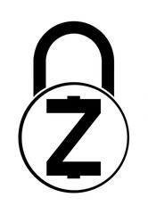electronic security lock of zcash ,vector icon.