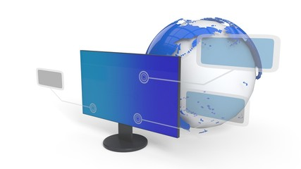 Computer and menus are subject to background, 3d rendering